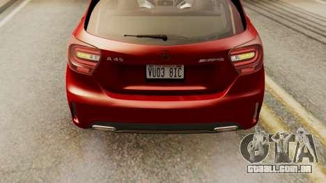 Mercedes-Benz A45 AMG 2012 para GTA San Andreas vista traseira