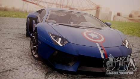 Lamborghini Aventador LP 700-4 Captain America para GTA San Andreas esquerda vista