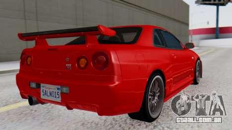 Nissan Skyline R34 para GTA San Andreas esquerda vista