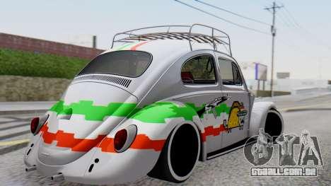 Volkswagen Beetle Vocho Nyan Cat V Mexicano para GTA San Andreas esquerda vista