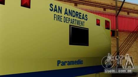 SAFD SAX Rescue Ambulance para GTA San Andreas vista direita