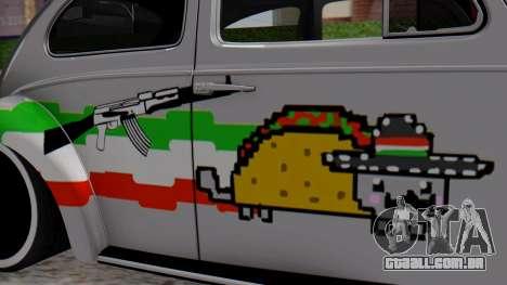 Volkswagen Beetle Vocho Nyan Cat V Mexicano para GTA San Andreas traseira esquerda vista