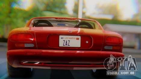 Dodge Viper RT-10 1992 para GTA San Andreas vista interior