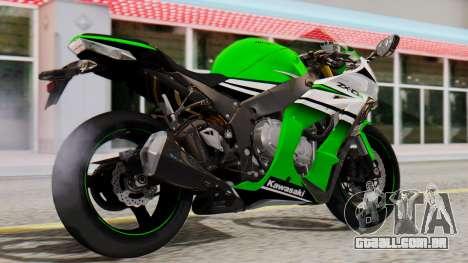 Kawasaki ZX-10R 2015 30th Anniversary Edition para GTA San Andreas esquerda vista