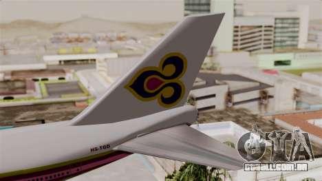 Boeing 747-200 Thai Airways para GTA San Andreas traseira esquerda vista