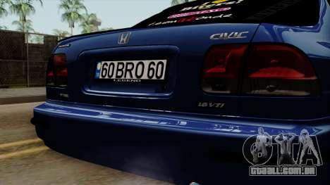 Honda Civic Sedan B. O. Construção para GTA San Andreas vista traseira