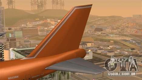 Boeing 747 Braniff para GTA San Andreas traseira esquerda vista