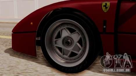 Ferrari F40 1987 without Up Lights HQLM para GTA San Andreas traseira esquerda vista