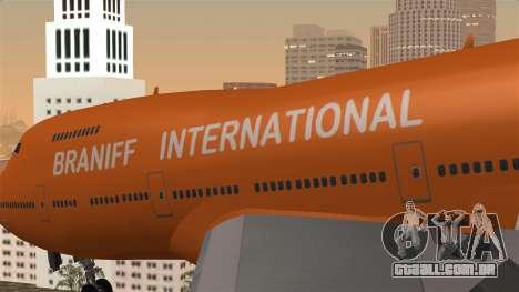 Boeing 747 Braniff para GTA San Andreas vista traseira