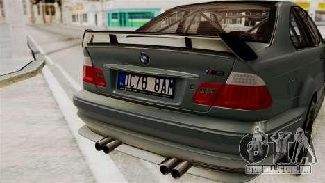 BMW M3 E46 GTR 2005 Stock para GTA San Andreas vista traseira
