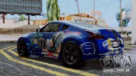 Nissan 370Z Tunable Miku Paintjob para GTA San Andreas traseira esquerda vista