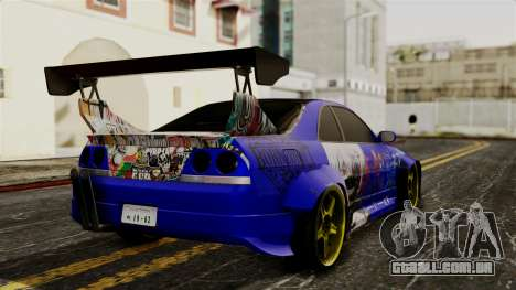 Nissan Skyline R33 Widebody Itasha para GTA San Andreas esquerda vista