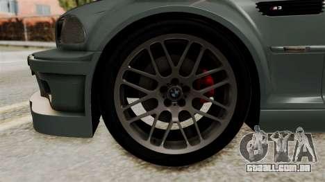BMW M3 E46 GTR 2005 Stock para GTA San Andreas traseira esquerda vista