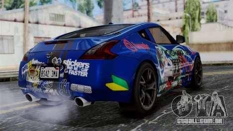 Nissan 370Z Tunable Miku Paintjob para GTA San Andreas esquerda vista