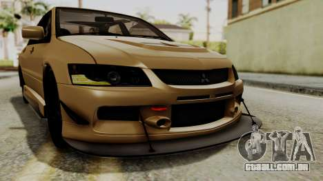 Mitsubishi Lancer Evolution IX MR 2006 para GTA San Andreas vista inferior