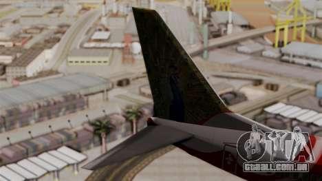 Boeing 737-800 Air India Express para GTA San Andreas traseira esquerda vista