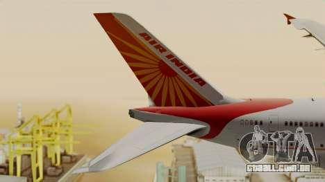 Airbus A380-861 Air India para GTA San Andreas traseira esquerda vista
