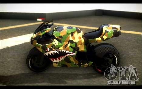 Bati Motorcycle Camo Shark Mouth Edition para GTA San Andreas esquerda vista