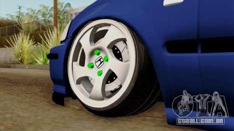 Honda Civic Sedan B. O. Construção para GTA San Andreas traseira esquerda vista
