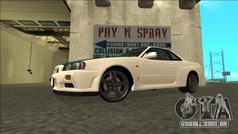 Nissan Skyline R34 Drift para GTA San Andreas traseira esquerda vista