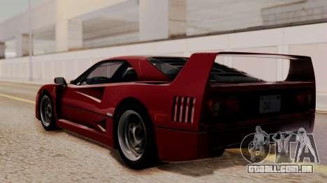 Ferrari F40 1987 without Up Lights HQLM para GTA San Andreas esquerda vista