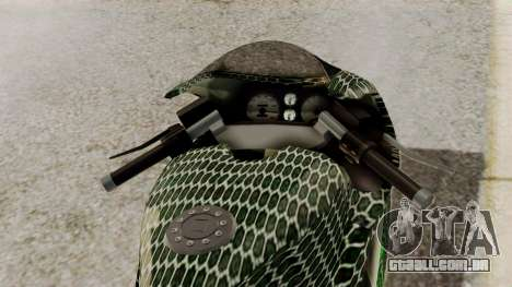 Bati Motorcycle Razer Gaming Edition para GTA San Andreas vista traseira