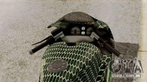 Bati Motorcycle Razer Gaming Edition para GTA San Andreas vista traseira