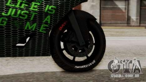 Bati Motorcycle Razer Gaming Edition para GTA San Andreas traseira esquerda vista