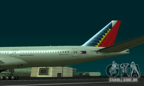 Boeing 777-200LR Philippine Airlines para GTA San Andreas vista direita