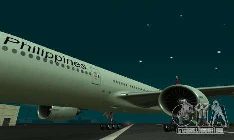 Boeing 777-200LR Philippine Airlines para GTA San Andreas esquerda vista