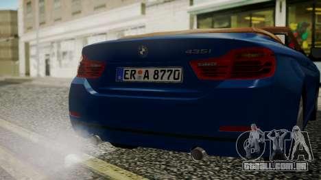 BMW M4 F32 Convertible 2014 para vista lateral GTA San Andreas