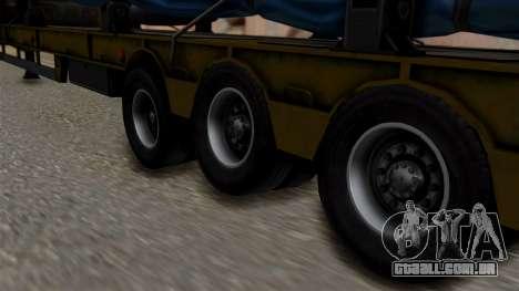 Overweight Trailer Yellow para GTA San Andreas traseira esquerda vista