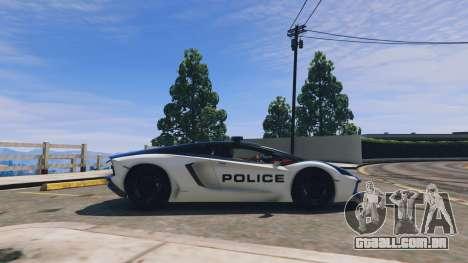 GTA 5 Lamborghini Aventador Police vista lateral esquerda