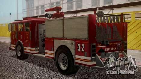 GTA 5 MTL Firetruck para GTA San Andreas esquerda vista