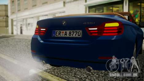 BMW M4 F32 Convertible 2014 para GTA San Andreas vista superior