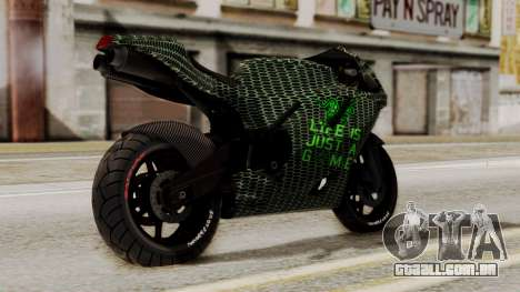 Bati Motorcycle Razer Gaming Edition para GTA San Andreas esquerda vista