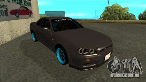 Nissan Skyline R34 Drift Monster Energy para GTA San Andreas esquerda vista
