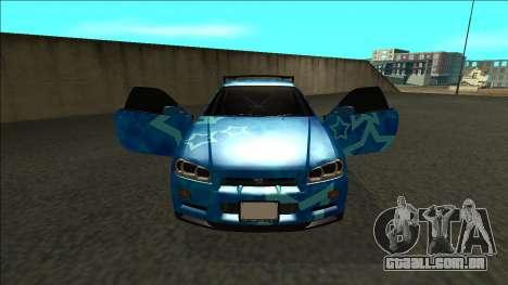 Nissan Skyline R34 Drift Blue Star para GTA San Andreas vista interior