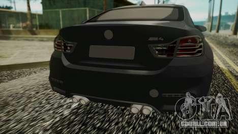 BMW M4 Coupe 2015 Carbon para GTA San Andreas vista traseira