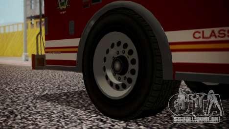 GTA 5 MTL Firetruck para GTA San Andreas traseira esquerda vista