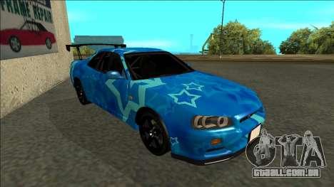 Nissan Skyline R34 Drift Blue Star para GTA San Andreas esquerda vista