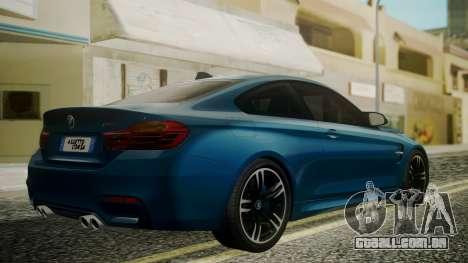 BMW M4 Coupe 2015 Brushed Aluminium para GTA San Andreas esquerda vista