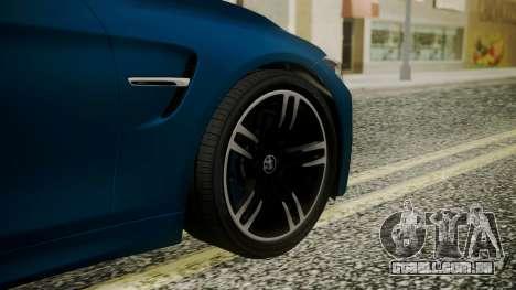 BMW M4 Coupe 2015 Brushed Aluminium para GTA San Andreas traseira esquerda vista