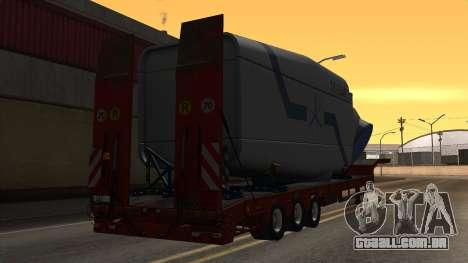 Overweight Trailer Stock para GTA San Andreas esquerda vista