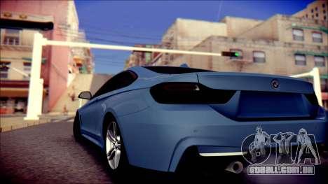 BMW 4 Series Coupe M Sport para GTA San Andreas traseira esquerda vista