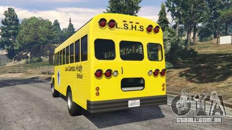GTA 5 Clássico ônibus escolar traseira vista lateral esquerda