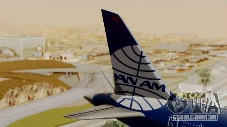 Boeing 787-9 Pan AM para GTA San Andreas traseira esquerda vista