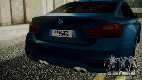 BMW M4 Coupe 2015 Brushed Aluminium para GTA San Andreas vista traseira