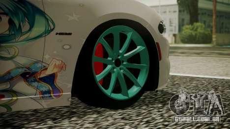 Dodge Charger RT 2015 Hatsune Miku para GTA San Andreas traseira esquerda vista