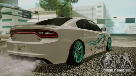 Dodge Charger RT 2015 Hatsune Miku para vista lateral GTA San Andreas